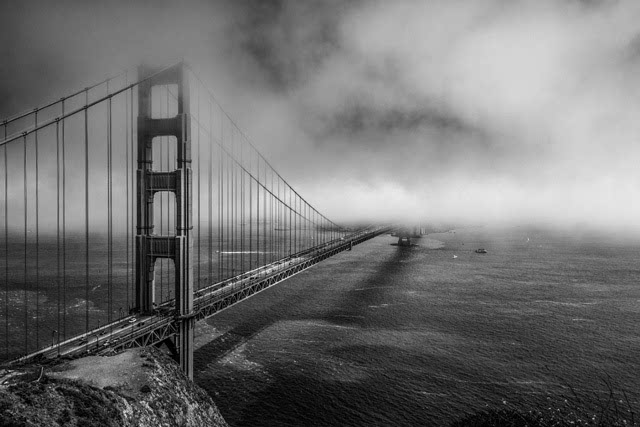 Lost in the Fog B&W by Mark Cote