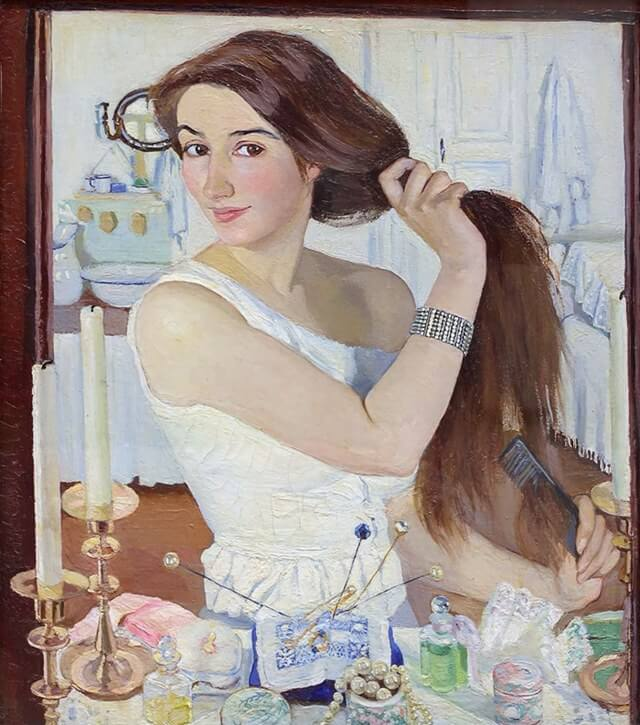 At the Dressing-Table (1909) by Zinaida Serebriakova