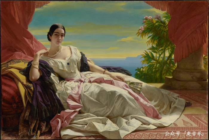 Portrait of Leonilla, Princess of Sayn-Wittgenstein-Sayn; Franz Xaver Winterhalter (German, 1805 - 1873); 1843; Oil on canvas; 142.2 × 212.1 cm (56 × 83 1/2 in.); 86.PA.534