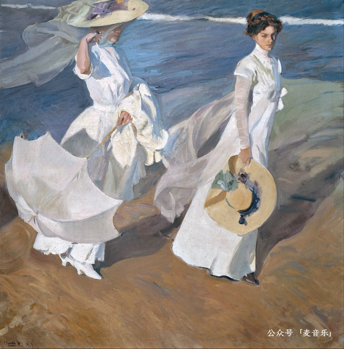 Strolling along the Seashore | 华金·索罗拉 1909