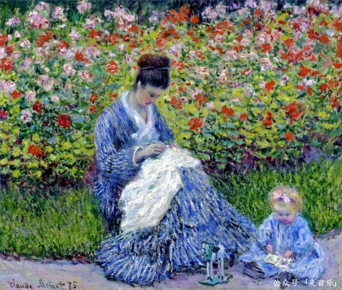 Camille Monet and a Child in the Artist's Garden in Argenteuil©️莫奈