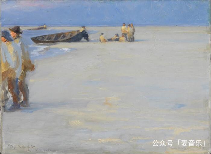 Fishermen on Skagen Nordstrand. Summer evening | P.S. Krøyer