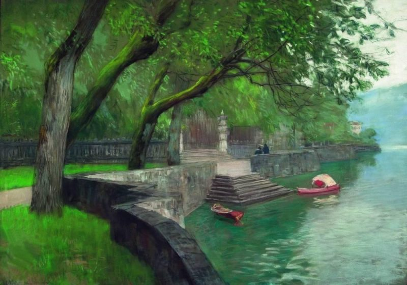 At the lake Como. Enbankment.©Isaac Levitan