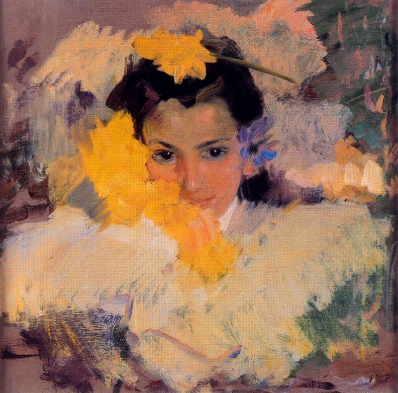 Girl with flowers, Joaquín Sorolla