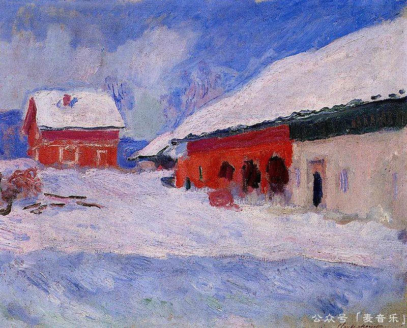 Red Houses at Bjornegaard in the Snow, Norway - 克劳德·莫奈
