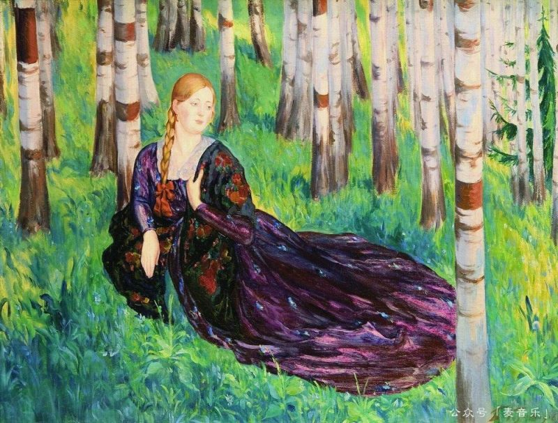 In the birch forest©Boris Kustodiev