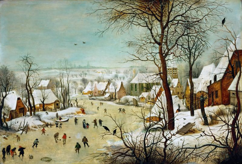 Winter Landscape with Skaters and a Bird Trap, Pieter Bruegel the Elder