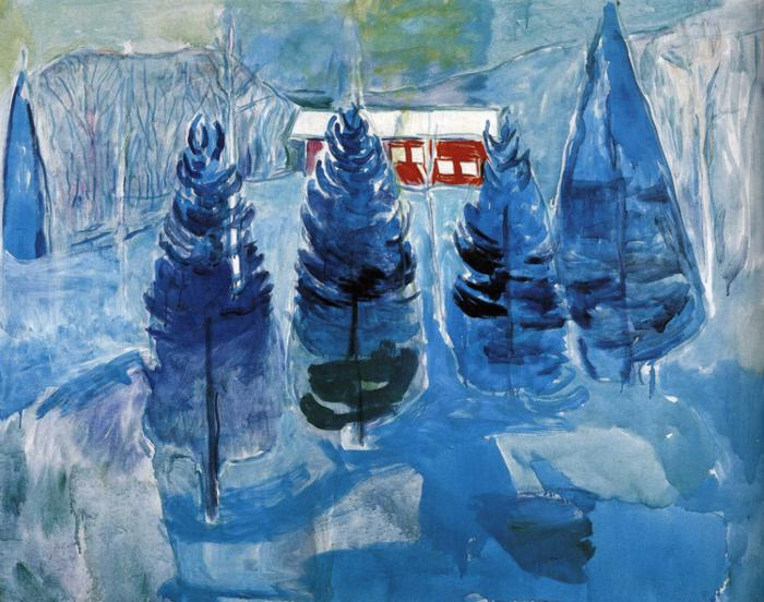 Red House and Spruces, Edvard Munch
