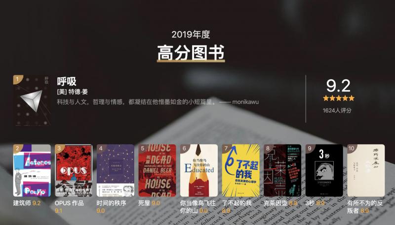 「豆瓣2019年度读书榜单」中国文学(小说类)