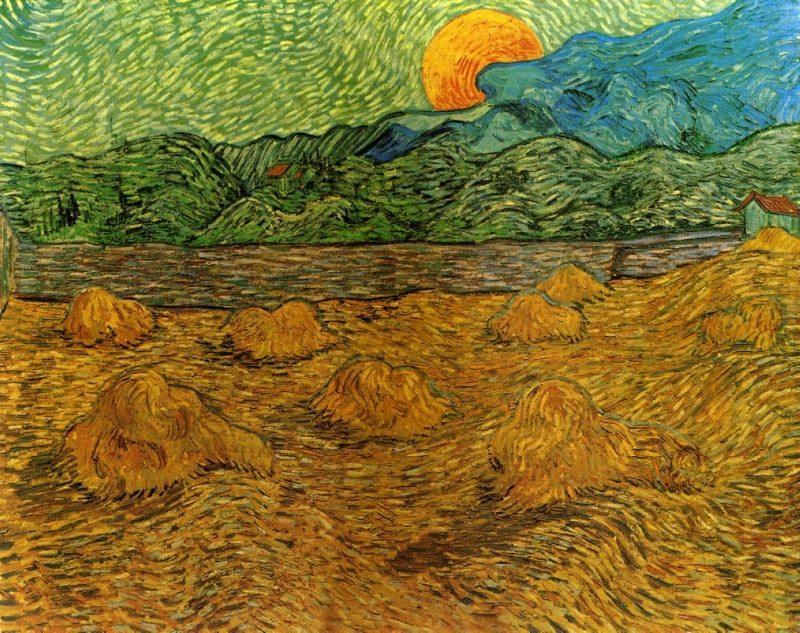Evening Landscape with Rising Moon _ Vincent van Gogh