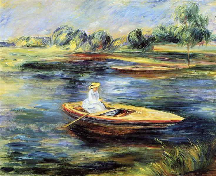 坐在划艇上的年轻女子   雷诺阿