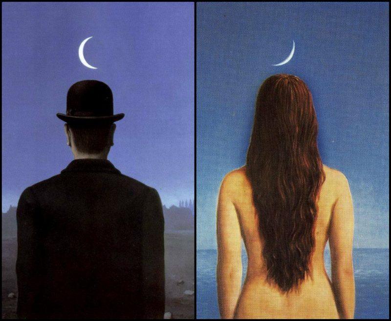 马格里特的两幅画《The Schoolmaster》《The Evening Gown》