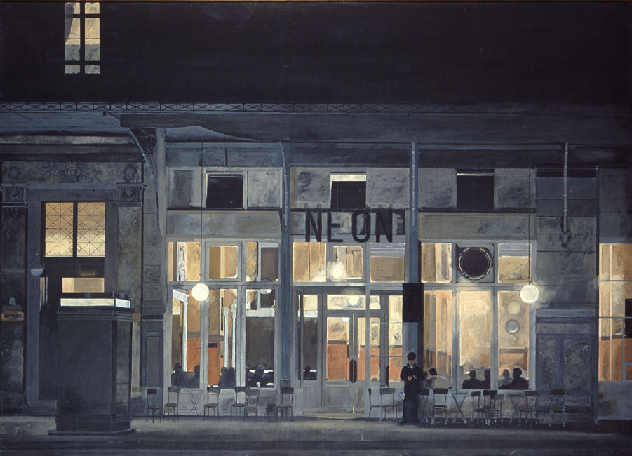 Cafe ''Neon'' at night, 1965 - Yiannis Tsaroychis